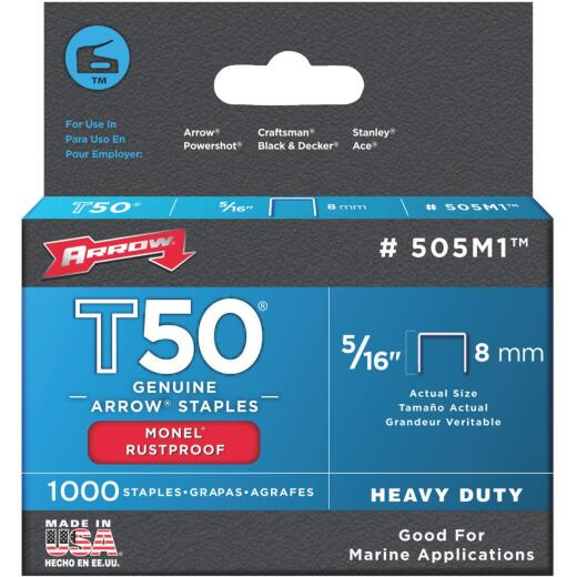 Arrow T50 Heavy-Duty Monel Staple, 5/16 In. (1000-Pack)