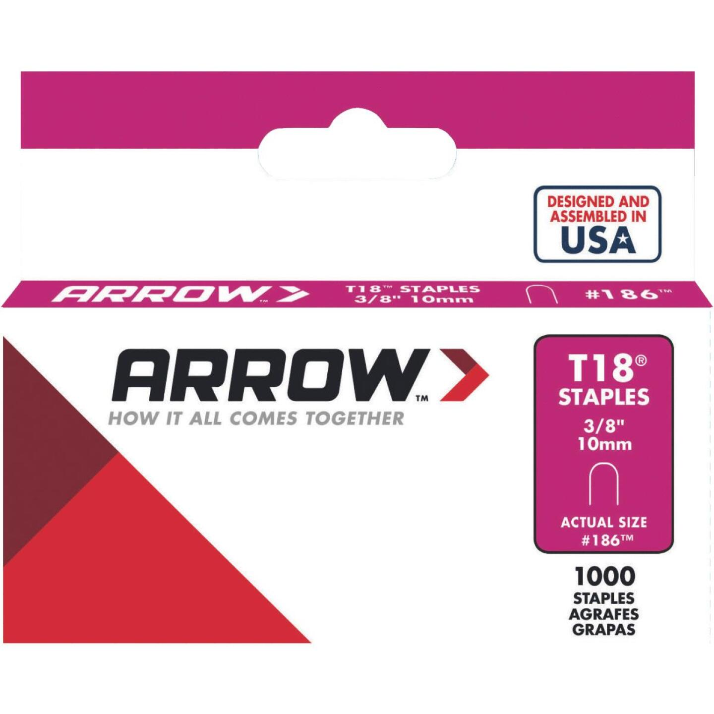 Arrow T18 Round Crown Cable Staple, 3/8 In. (1000-Pack) Image 1