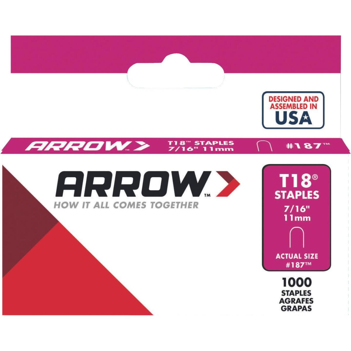 Arrow T18 Round Crown Cable Staple, 7/16 In. (1000-Pack) Image 1