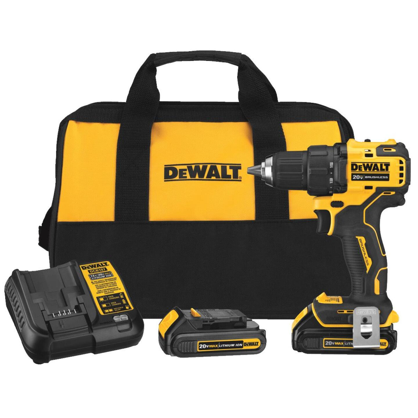DeWalt Atomic 20 Volt MAX Lithium-Ion 1/2 In. Brushless Cordless Drill/Driver Kit Image 1