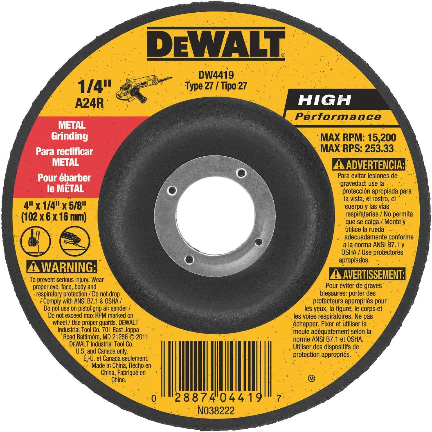 DeWalt HP Type 27 4 In. x 1/4 In. x 5/8 In. Metal Grinding Cut-Off Wheel Image 1