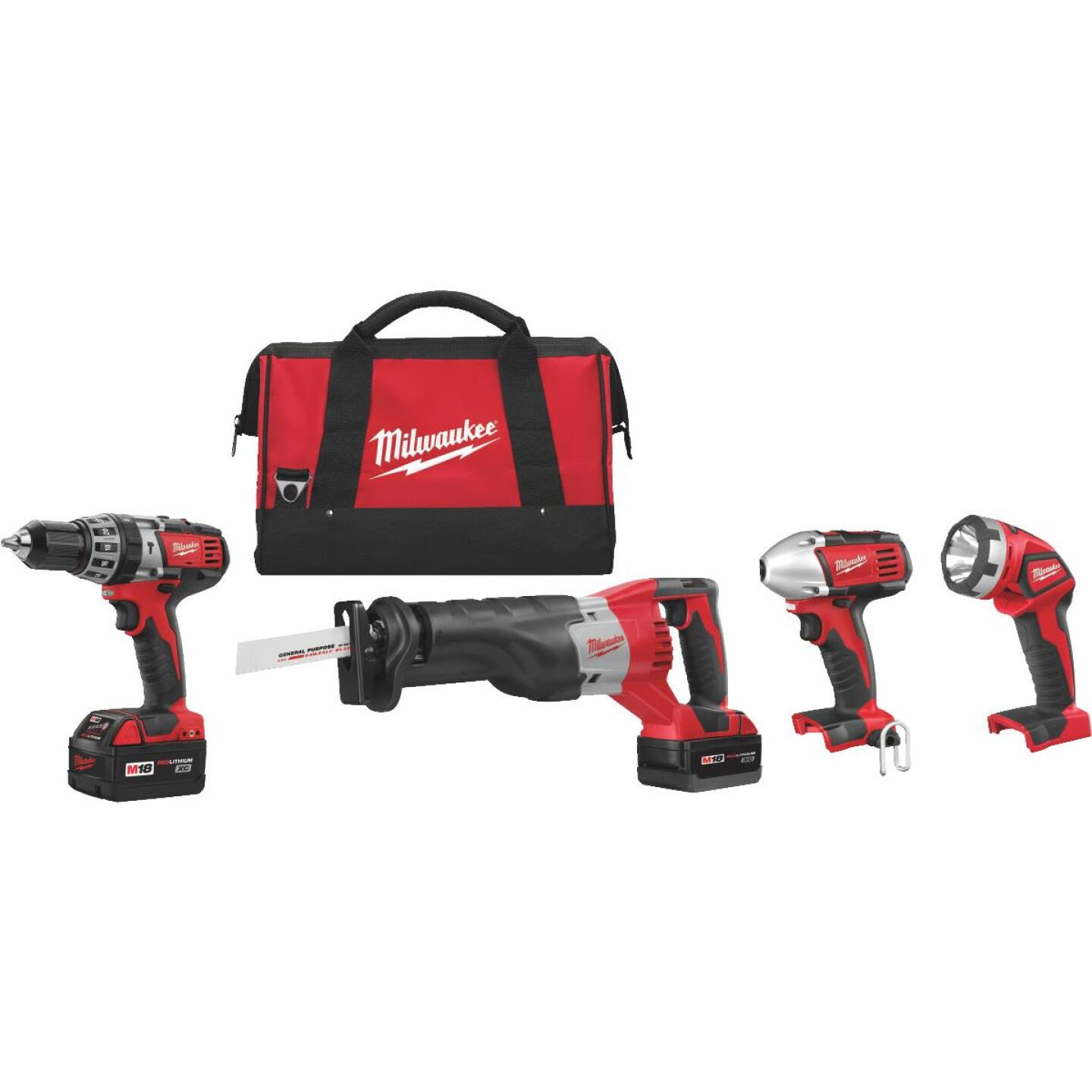Milwaukee 4-Tool M18 Lithium-Ion Hammer Drill, Reciprocating Saw, Impact Driver & Work Light Cordless Tool Combo Kit Image 1
