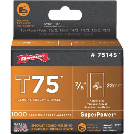 Arrow T75 SuperPower Staple, 7/8 In. (1000-Pack)