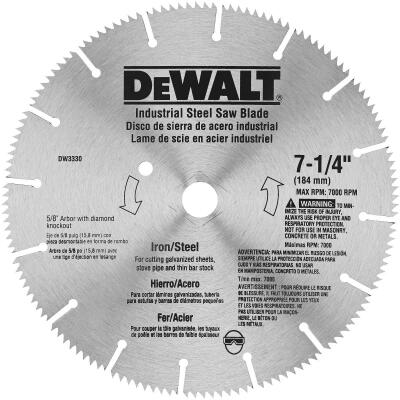 DeWalt Industrial Steel 7-1/4 In. 128-Tooth Iron/Steel Circular Saw Blade
