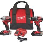 Milwaukee 2-Tool M18 Lithium-Ion Brushless Compact Drill/Driver & Impact Driver Cordless Tool Combo Kit Image 1