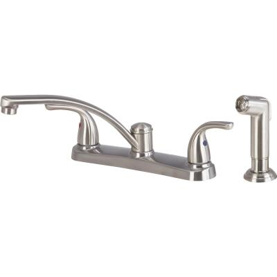 Home Impressions Dual Handle Metal Lever Kitchen Faucet with Side Spray, Brushed Nickel