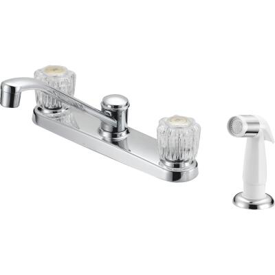 Home Impressions Dual Handle Double Acrylic Knob Kitchen Faucet with Side Spray, Chrome