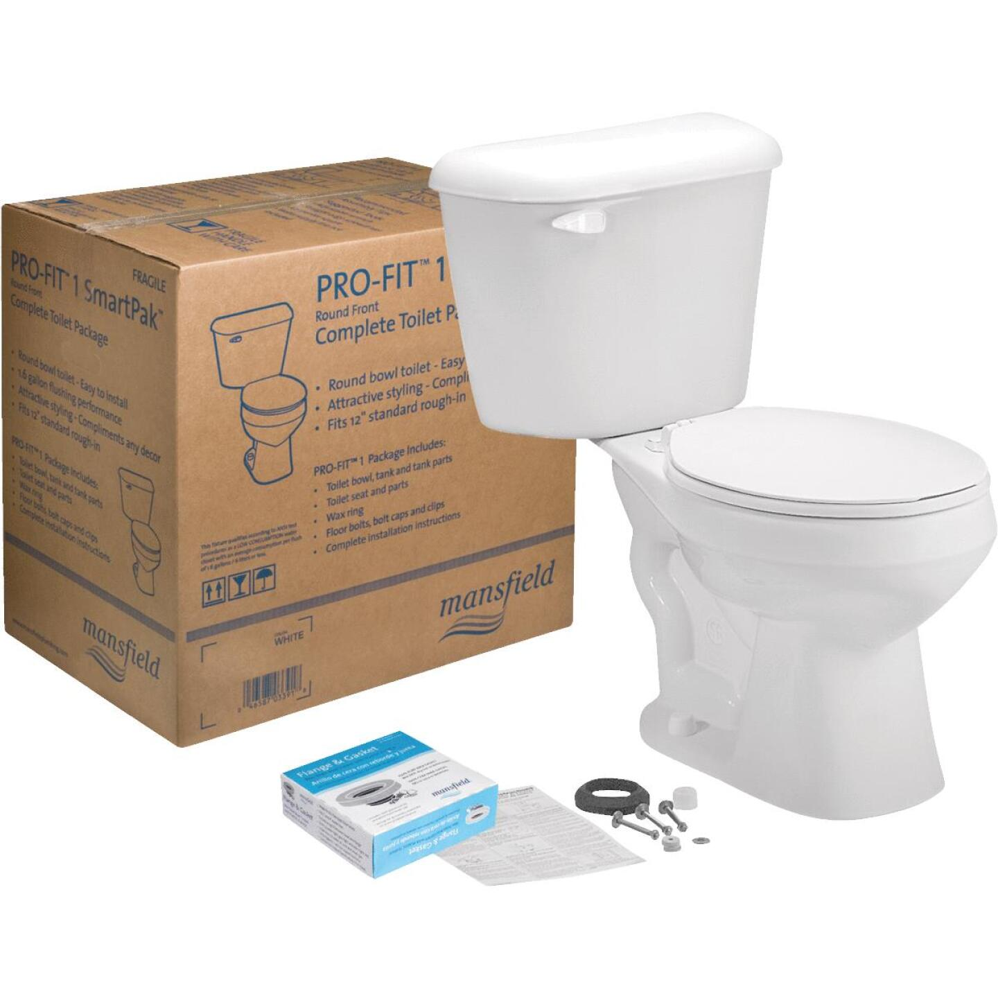 Mansfield Pro-Fit 1-128 HET Biscuit Round Bowl 1.28 GPF Complete Toilet Image 1