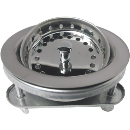 Lasco 3-1/2 In. Chrome EZ-On Duo Basket Strainer Assembly