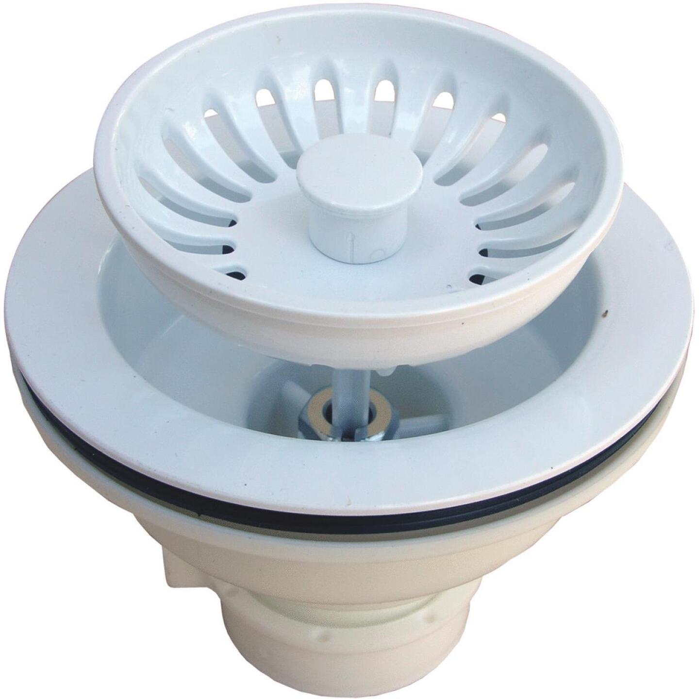 Lasco 3-1/2 In. Heavy-Duty Basket Strainer Assembly, White Image 1