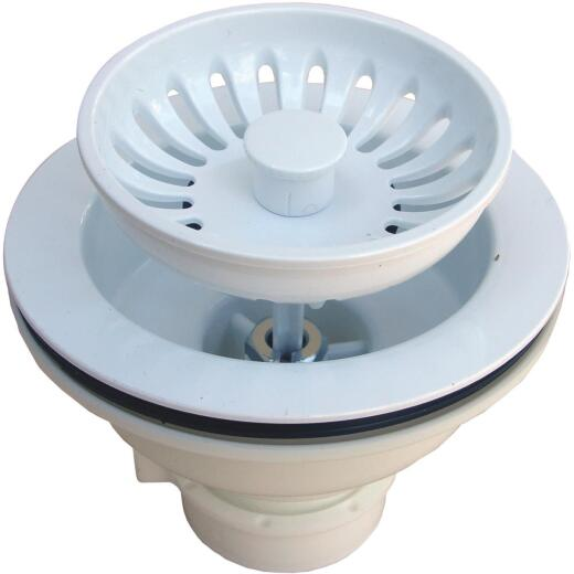 Lasco 3-1/2 In. Heavy-Duty Basket Strainer Assembly, White