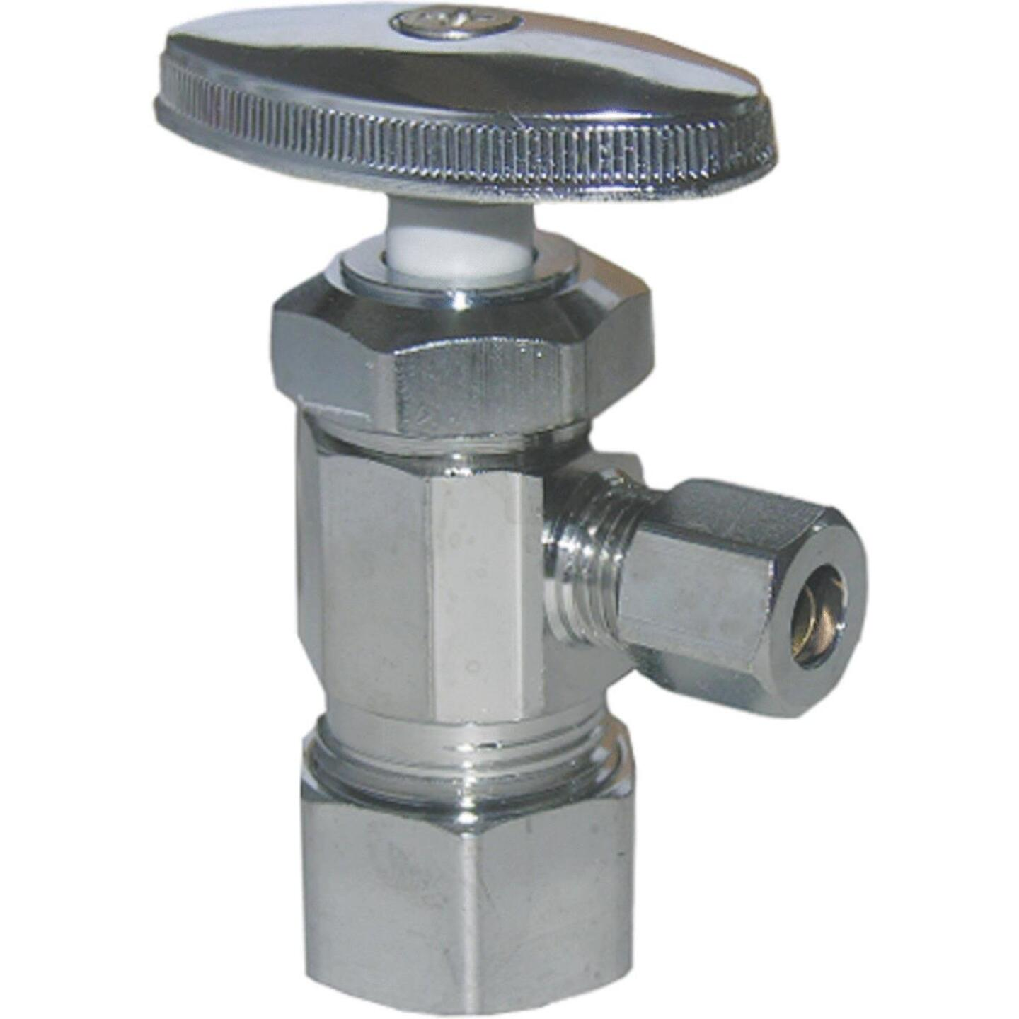 Lasco 5/8 In. Comp Inlet x 1/4 In. Comp Outlet Multi-Turn Style Angle Valve Image 1
