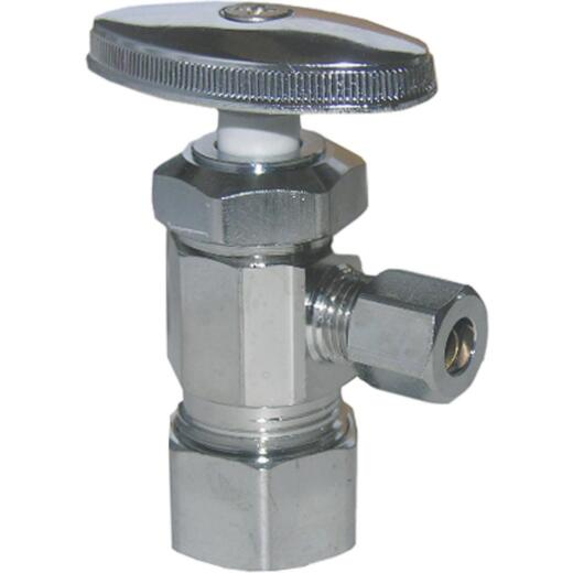 Lasco 5/8 In. Comp Inlet x 1/4 In. Comp Outlet Multi-Turn Style Angle Valve