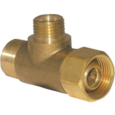 Lasco 3/8 In. FC Inlet x 3/8 In.C Outlet x 1/4 In.C Outlet Brass Extender Tee