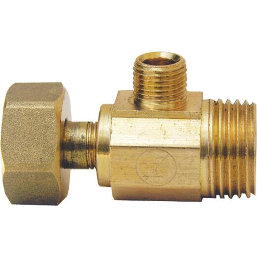 Lasco 1/2 In. IP Inlet x 1/2 In. IP Outlet x 1/4 In. C Outlet Brass Extender Tee