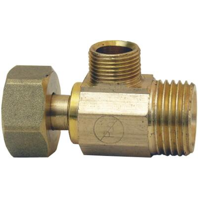 Lasco 1/2 In. IP Inlet x 1/2 In. IP Outlet x 3/8 In. C Outlet Brass Extender Tee