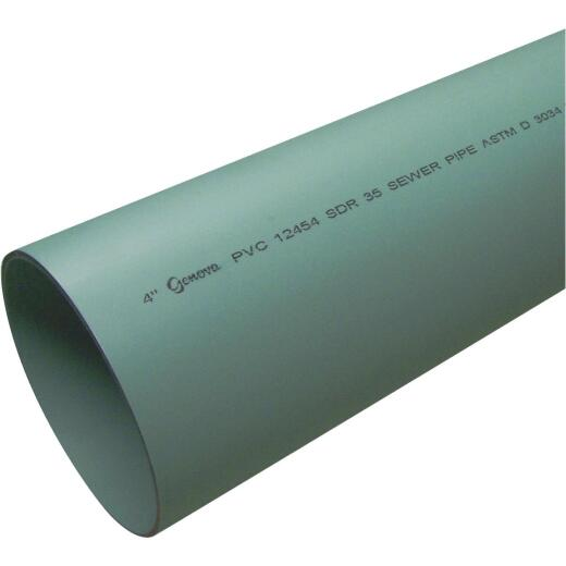 Charlotte Pipe 6 In. x 10 Ft. Solid SDR35 PVC Drain & Sewer Pipe, Belled End