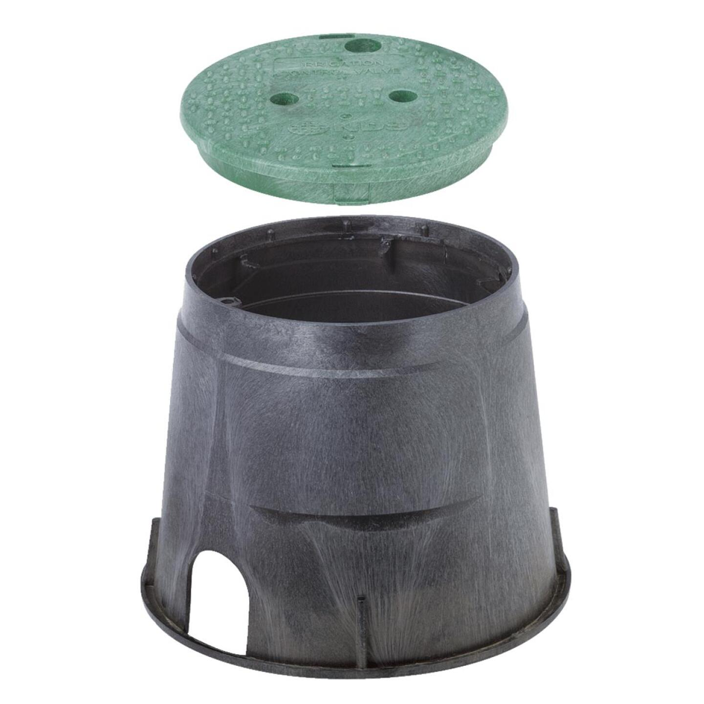 National Diversified 10 In. Round Black & Green Valve Box with Cover Image 1