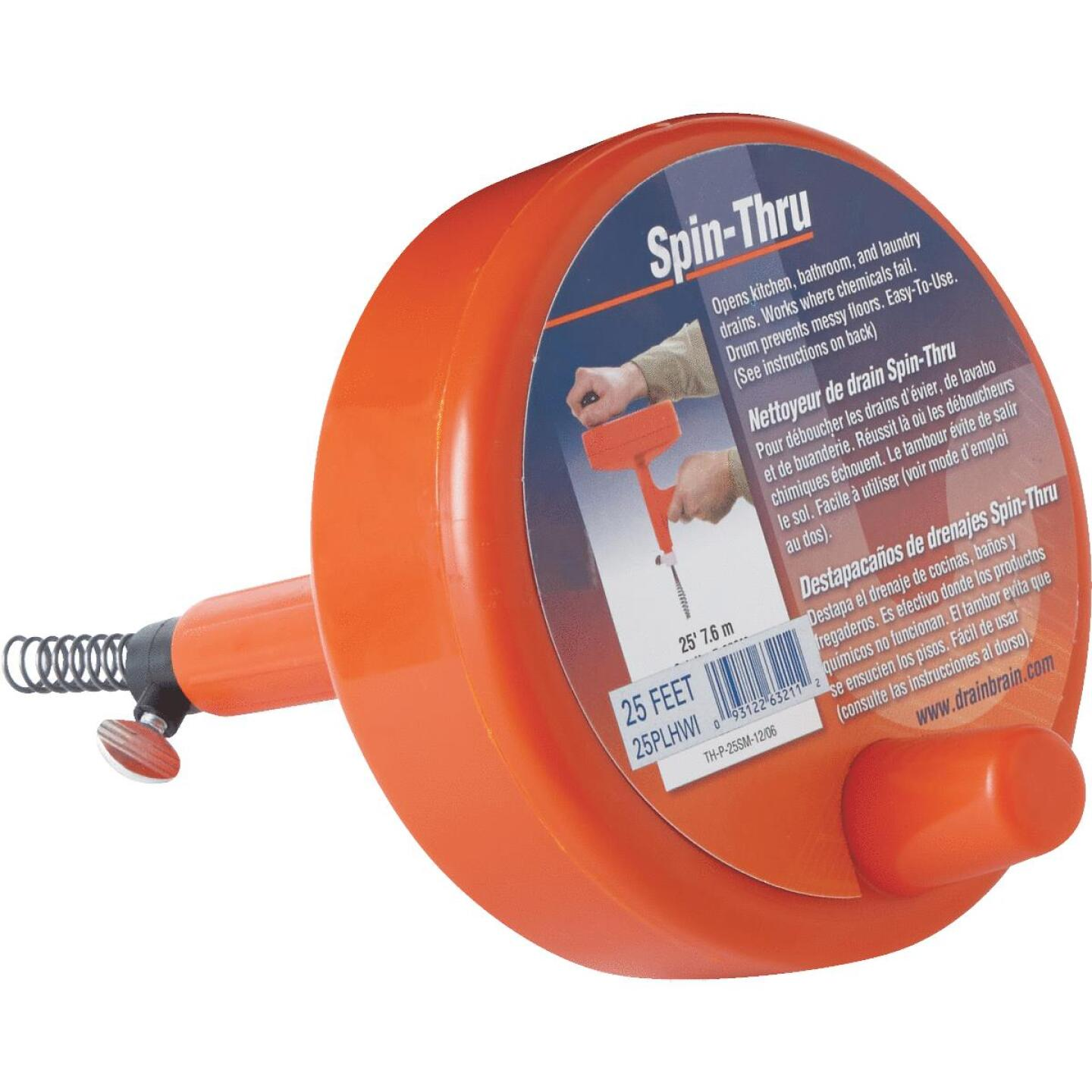 General Wire 1/4 In. x 25 Ft. Plastic Spin Through Drain Auger Image 1