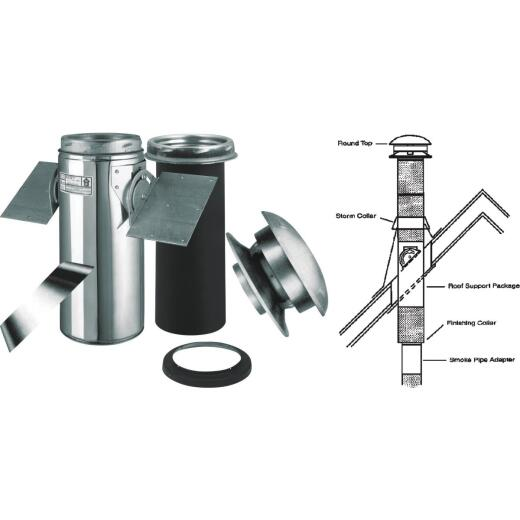 SELKIRK Sure-Temp 6 In. Stainless Steel Pitched Ceiling Chimney Support Kit