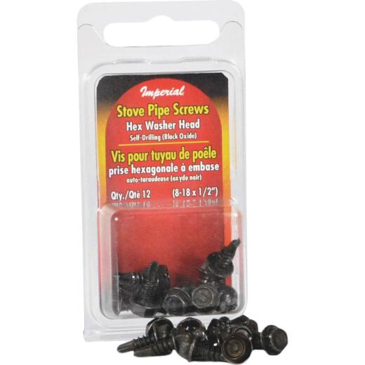 Imperial #8-18 x 1/2 In. Black Oxide Zinc Hex Washer Head Stove Pipe Sheet Metal Screws (12-Pack)