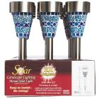 Outdoor Expressions Blue or Purple Mosaic 2.10 Lumens Stainless Steel Solar Path Light Image 2