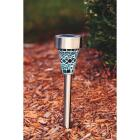 Outdoor Expressions Blue or Purple Mosaic 2.10 Lumens Stainless Steel Solar Path Light Image 6