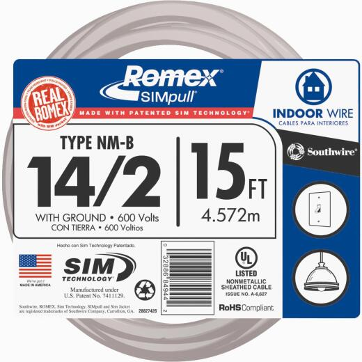 Romex 15 Ft. 14-2 Solid White NMW/G Wire