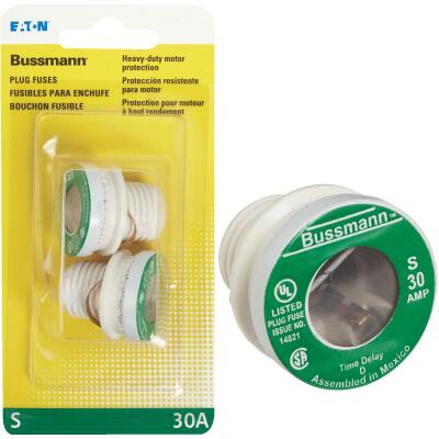 Bussmann 30A S Time-Delay Plug Fuse (2-Pack)