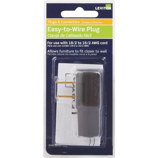 Leviton 15A 125V 2-Wire 2-Pole Easy Wire Cord Plug, Brown
