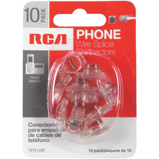 RCA Clear, Red Wire Spice Connector Phone Cord Coupler (10-Pack)