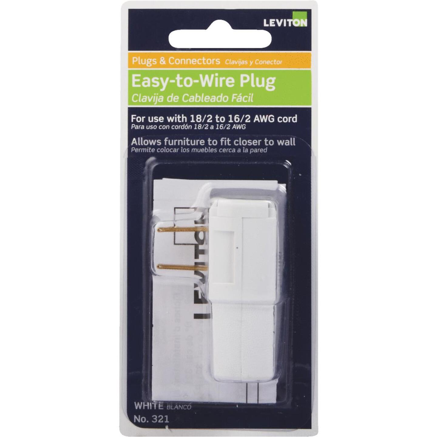 Leviton 15A 125V 2-Wire 2-Pole Easy Wire Cord Plug, White Image 1