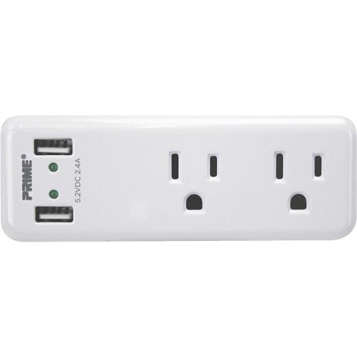Prime Wire 2 Power & 2 USB White Space Saving USB Wall Charger