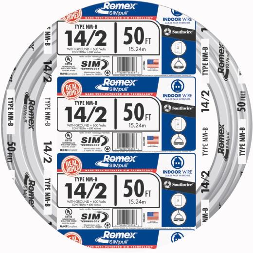 Romex 50 Ft. 14-2 Solid White NMW/G Wire