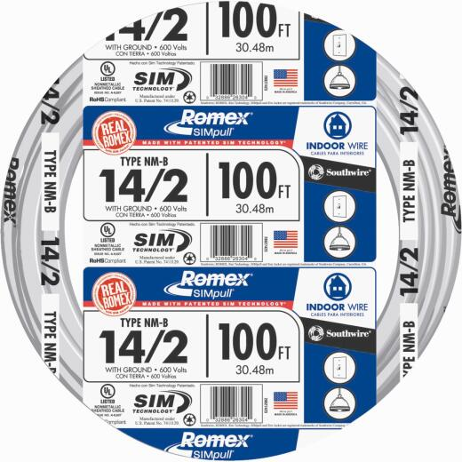 Romex 100 Ft. 14-2 Solid White NMW/G Wire