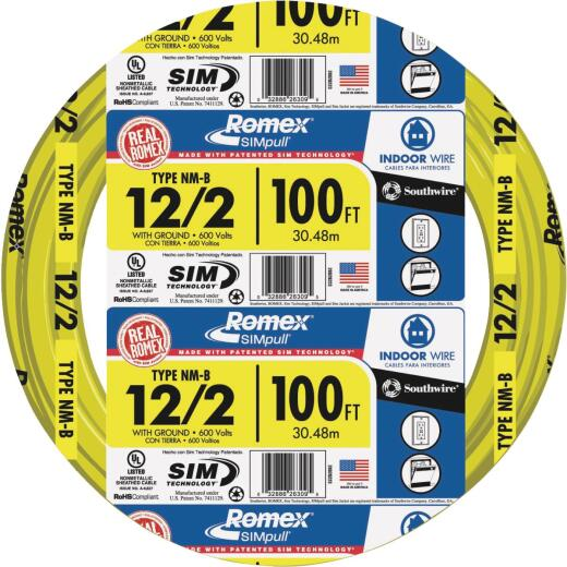 Romex 100 Ft. 12-2 Solid Yellow NMW/G Wire