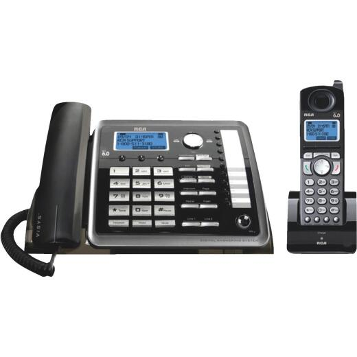 RCA DECT 6.0 2-Line Black Expandable Corded/Cordless Telephone System