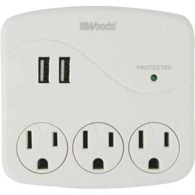 Woods 2-USB/3-Standard Outlets 2.4A/15A White Surge Tap