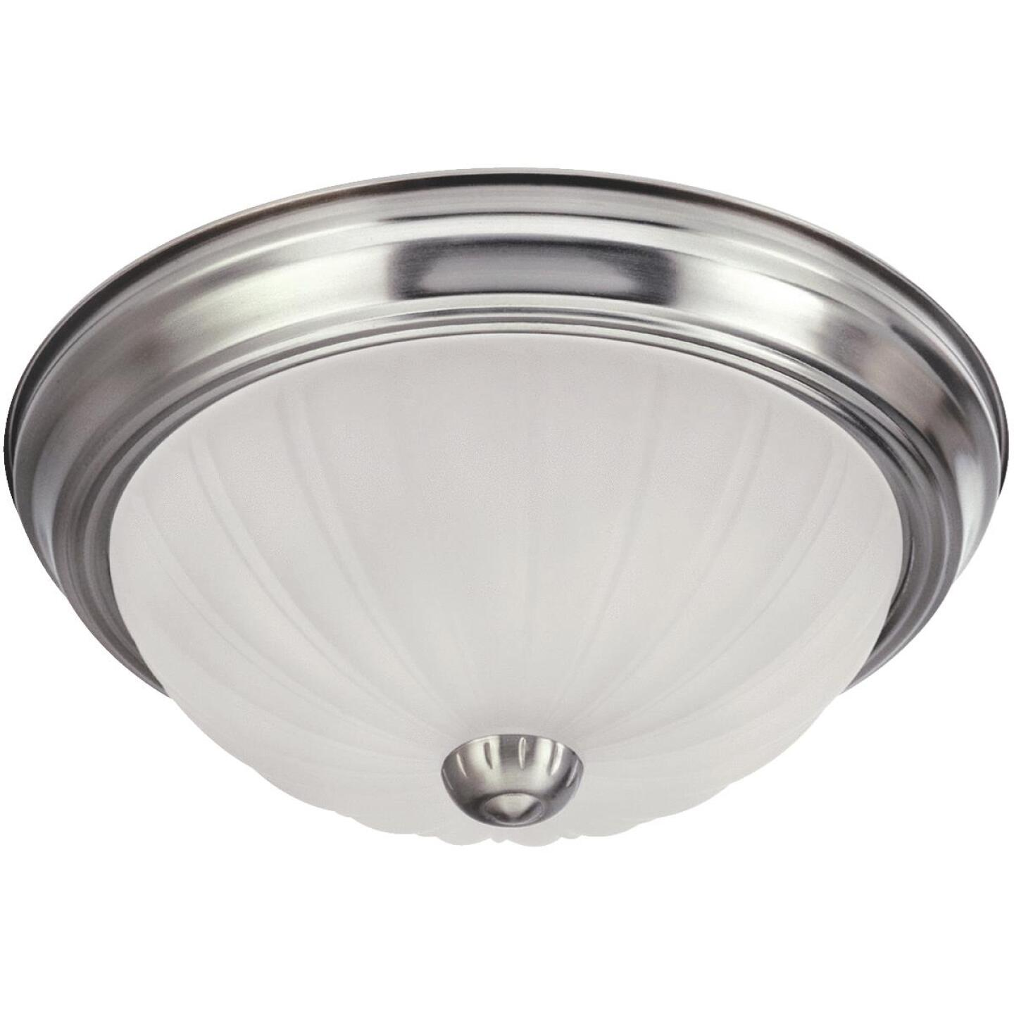 Home Impressions 13 In. Brushed Nickel Incandescent Flush Mount Ceiling Light Fixture with Frosted Melon Glass Image 1
