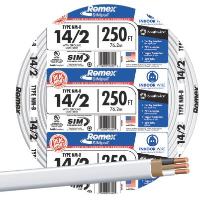 Romex 250 Ft. 14-2 Solid White NMW/G Wire