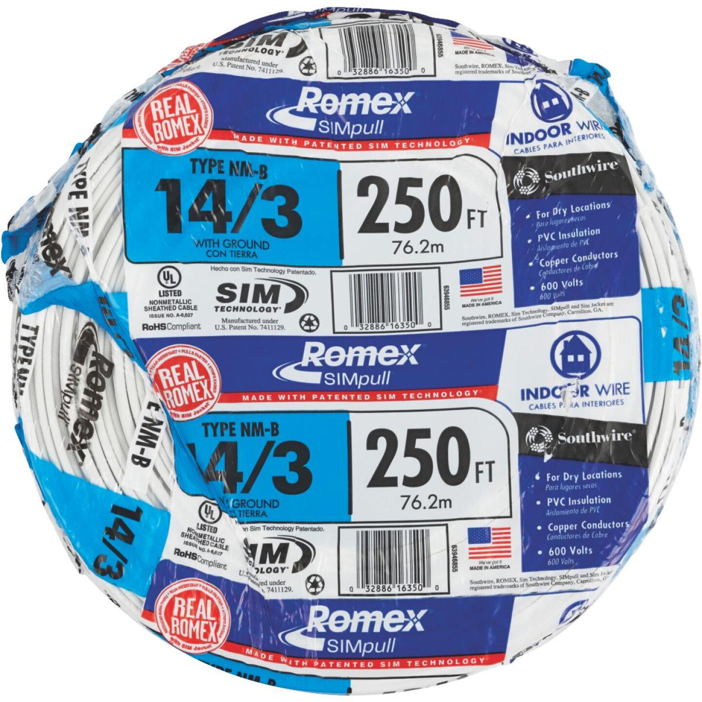 Romex 250 Ft. 14-3 Solid White NMW/G Wire Image 2