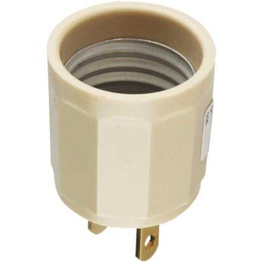 Leviton 600W 125V Ivory Outlet to Light Socket Adapter
