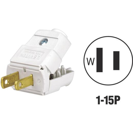 Leviton 15A 125V 2-Wire 2-Pole Hinged Cord Plug, White