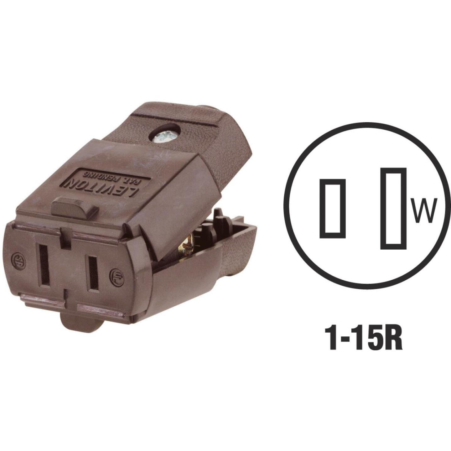 Leviton 15A 125V 2-Wire 2-Pole Hinged Cord Connector, Brown Image 1