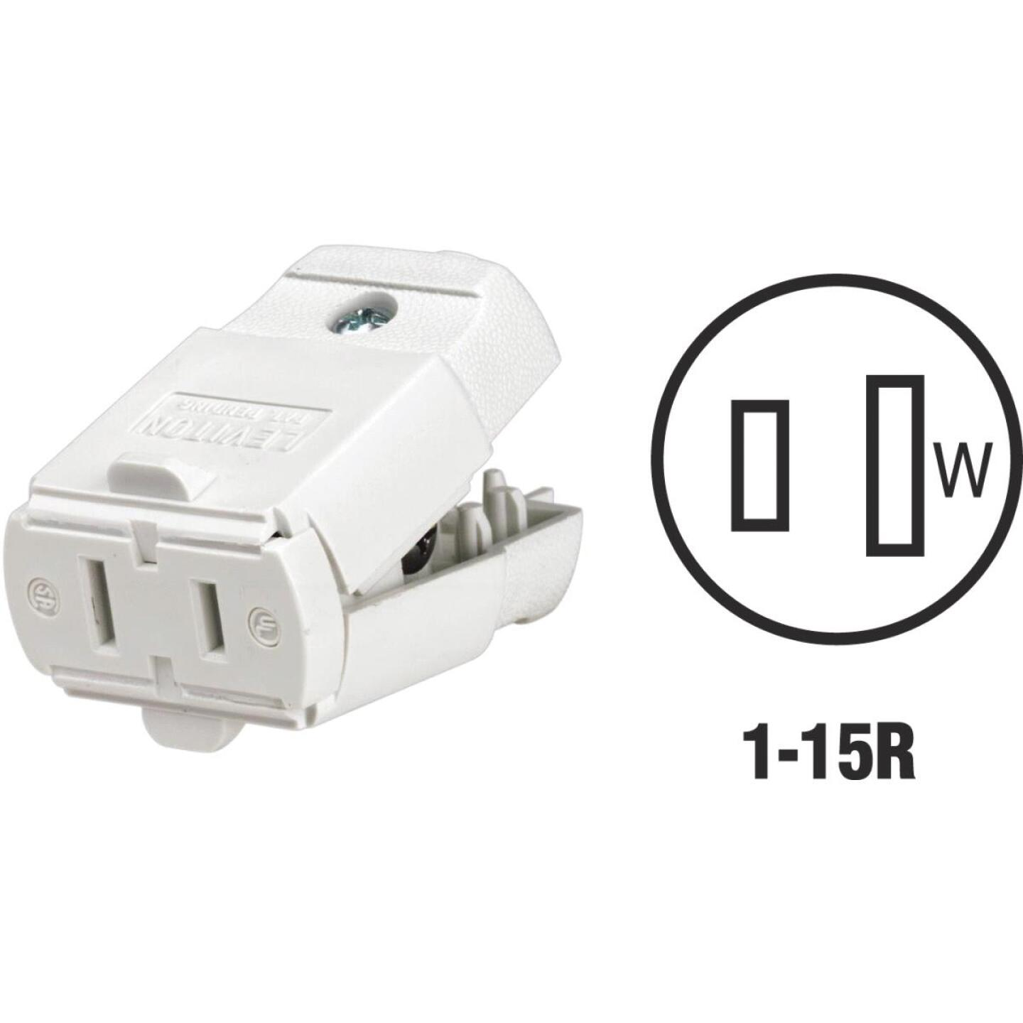 Leviton 15A 125V 2-Wire 2-Pole Hinged Cord Connector, White Image 1