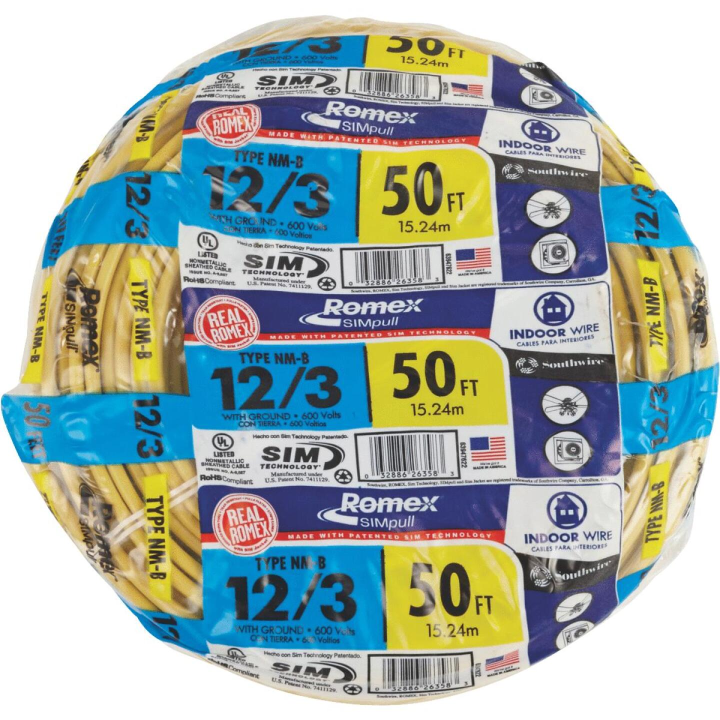 Romex 50 Ft. 12-3 Solid Yellow NMW/G Wire Image 2