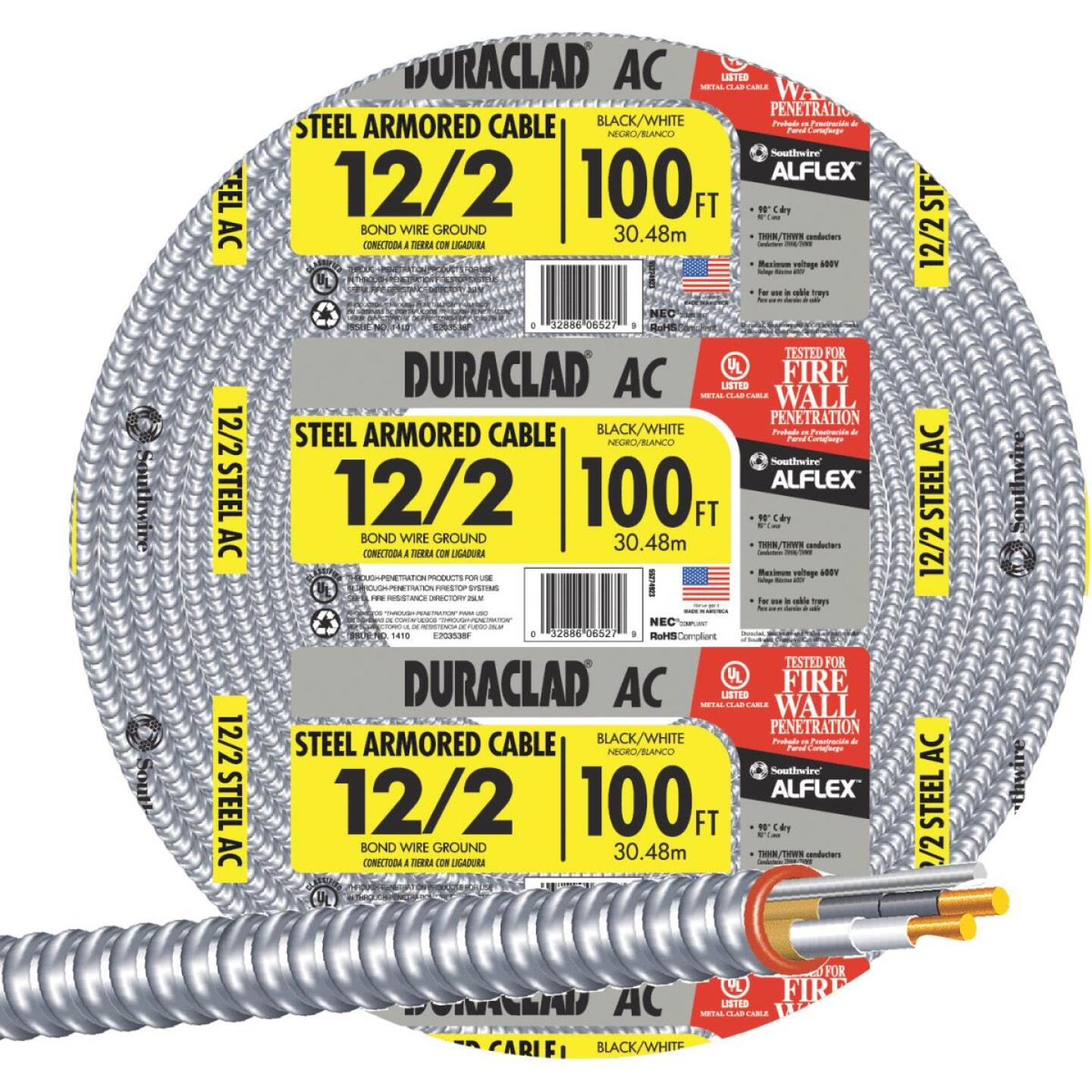 Southwire 100 Ft. 12/2 AC Armored Cable Image 1