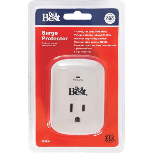 Do it Best 1-Outlet 15A Gray Surge Tap