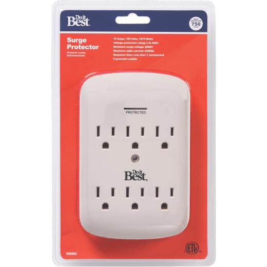 Do it Best 6-Outlet 15A Gray Surge Tap