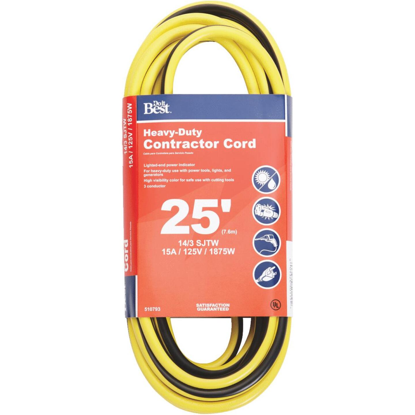Do it Best 25 Ft. 14/3 Heavy-Duty Contractor Extension Cord Image 1